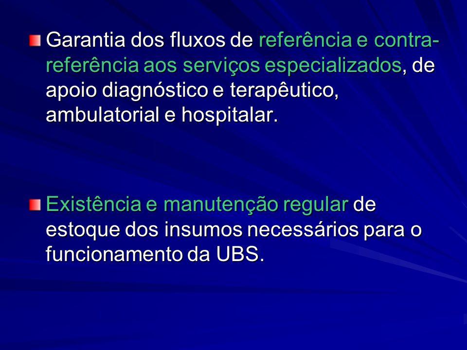 Garantia dos fluxos de referência e contra- referência aos serviços especializados, de apoio diagnóstico e terapêutico, ambulatorial e hospitalar. Exi