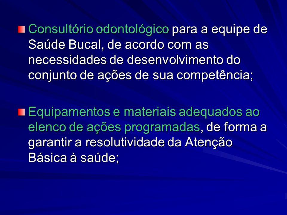 Consultório odontológico para a equipe de Saúde Bucal, de acordo com as necessidades de desenvolvimento do conjunto de ações de sua competência; Equip