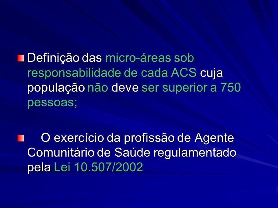 Definição das micro-áreas sob responsabilidade de cada ACS cuja população não deve ser superior a 750 pessoas; O exercício da profissão de Agente Comu