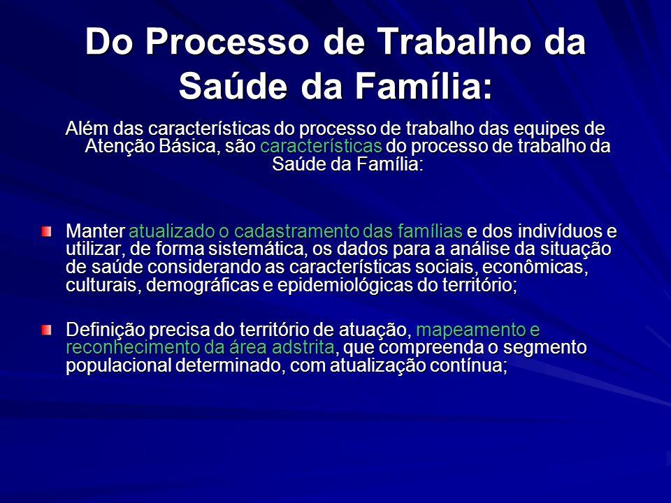 Do Processo de Trabalho da Saúde da Família: Além das características do processo de trabalho das equipes de Atenção Básica, são características do pr