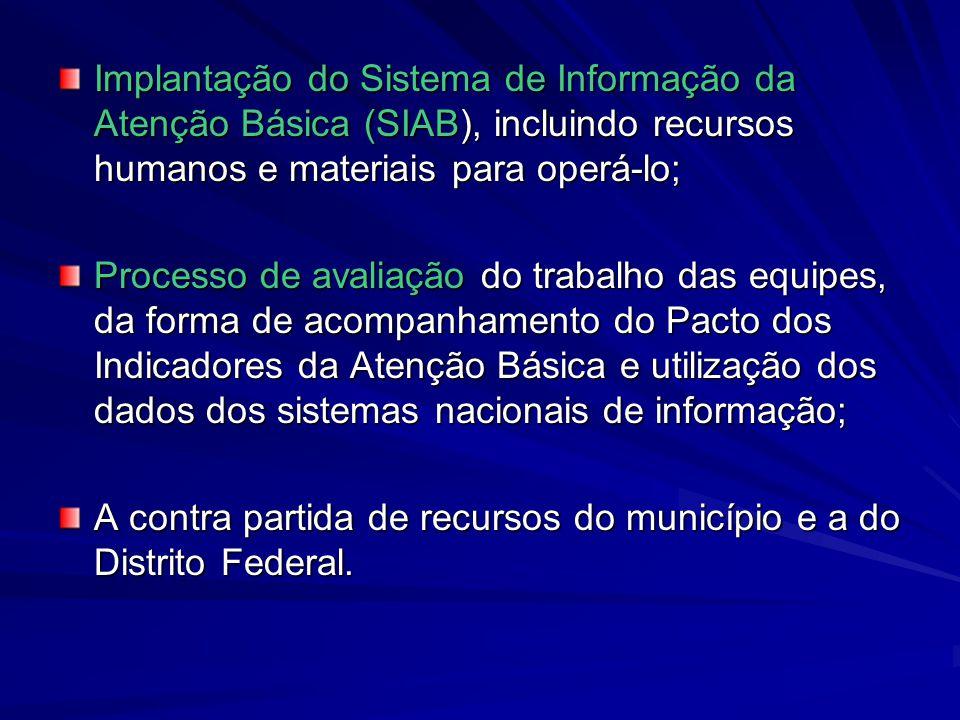 Implantação do Sistema de Informação da Atenção Básica (SIAB), incluindo recursos humanos e materiais para operá-lo; Processo de avaliação do trabalho
