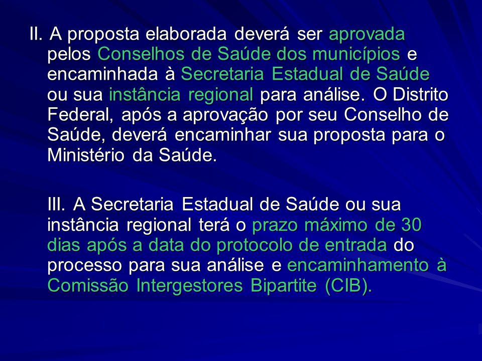 II. A proposta elaborada deverá ser aprovada pelos Conselhos de Saúde dos municípios e encaminhada à Secretaria Estadual de Saúde ou sua instância reg