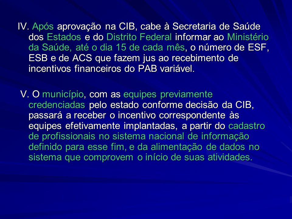 IV. Após aprovação na CIB, cabe à Secretaria de Saúde dos Estados e do Distrito Federal informar ao Ministério da Saúde, até o dia 15 de cada mês, o n