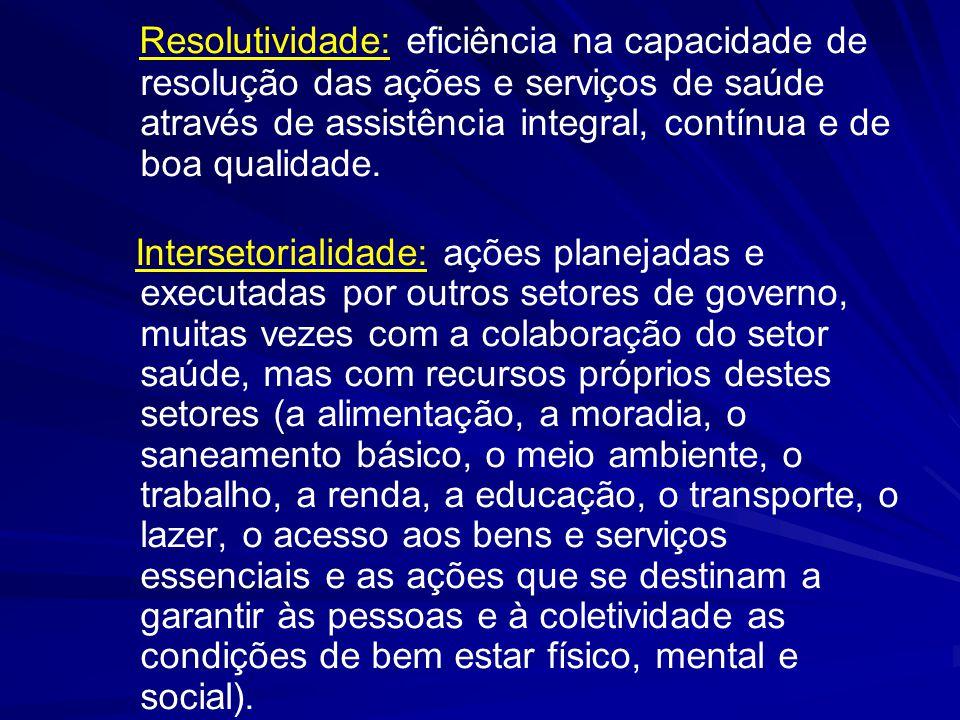 Resolutividade: eficiência na capacidade de resolução das ações e serviços de saúde através de assistência integral, contínua e de boa qualidade. Inte