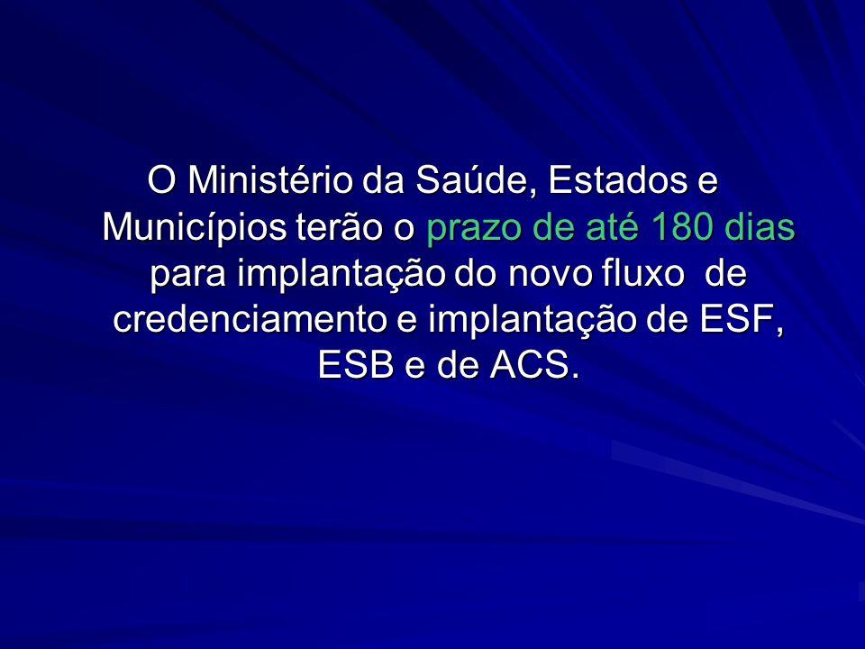 O Ministério da Saúde, Estados e Municípios terão o prazo de até 180 dias para implantação do novo fluxo de credenciamento e implantação de ESF, ESB e