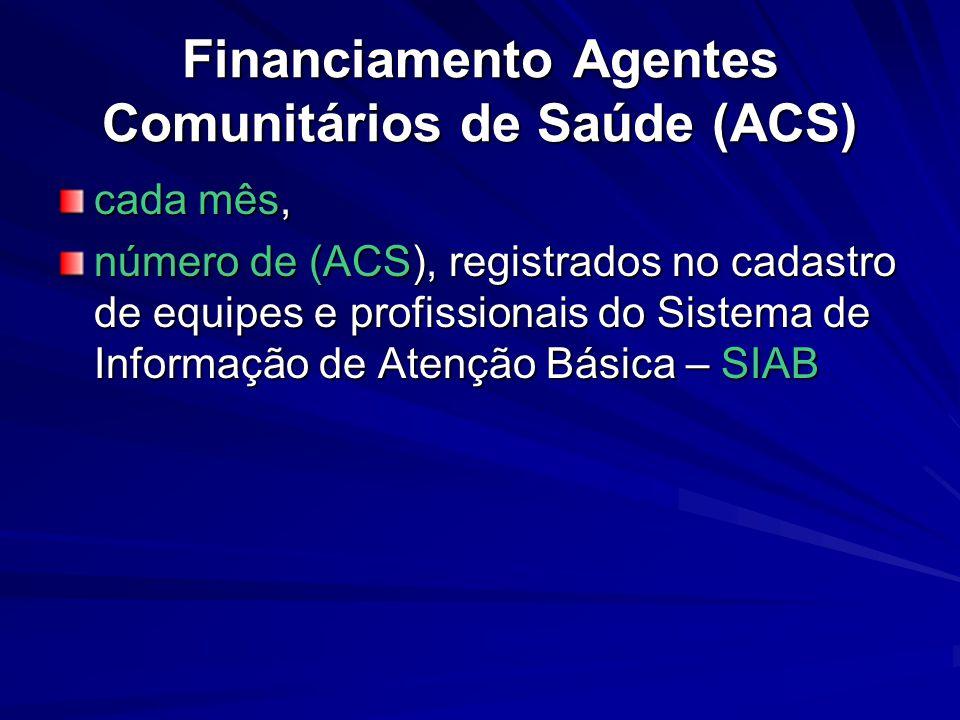 Financiamento Agentes Comunitários de Saúde (ACS) cada mês, número de (ACS), registrados no cadastro de equipes e profissionais do Sistema de Informaç
