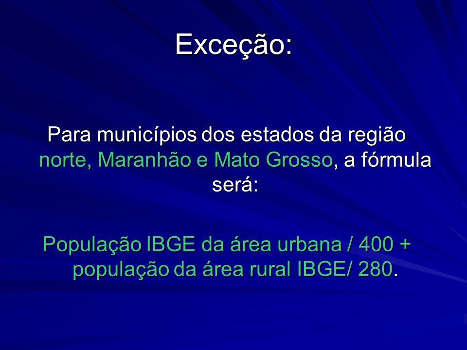 Exceção: Para municípios dos estados da região norte, Maranhão e Mato Grosso, a fórmula será: População IBGE da área urbana / 400 + população da área