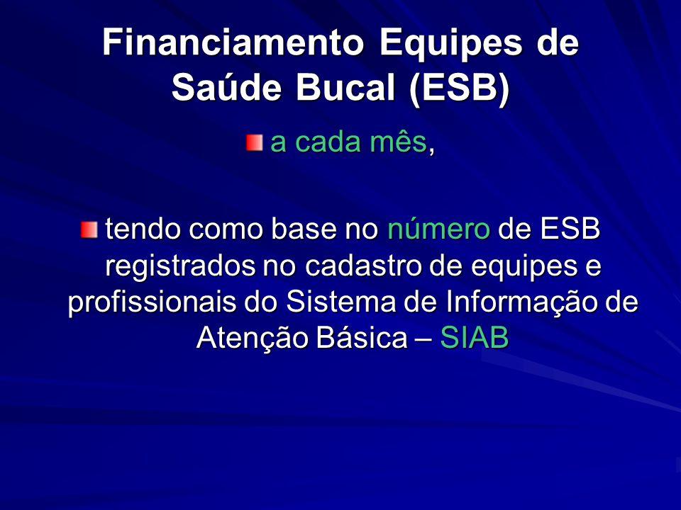 Financiamento Equipes de Saúde Bucal (ESB) a cada mês, tendo como base no número de ESB registrados no cadastro de equipes e profissionais do Sistema