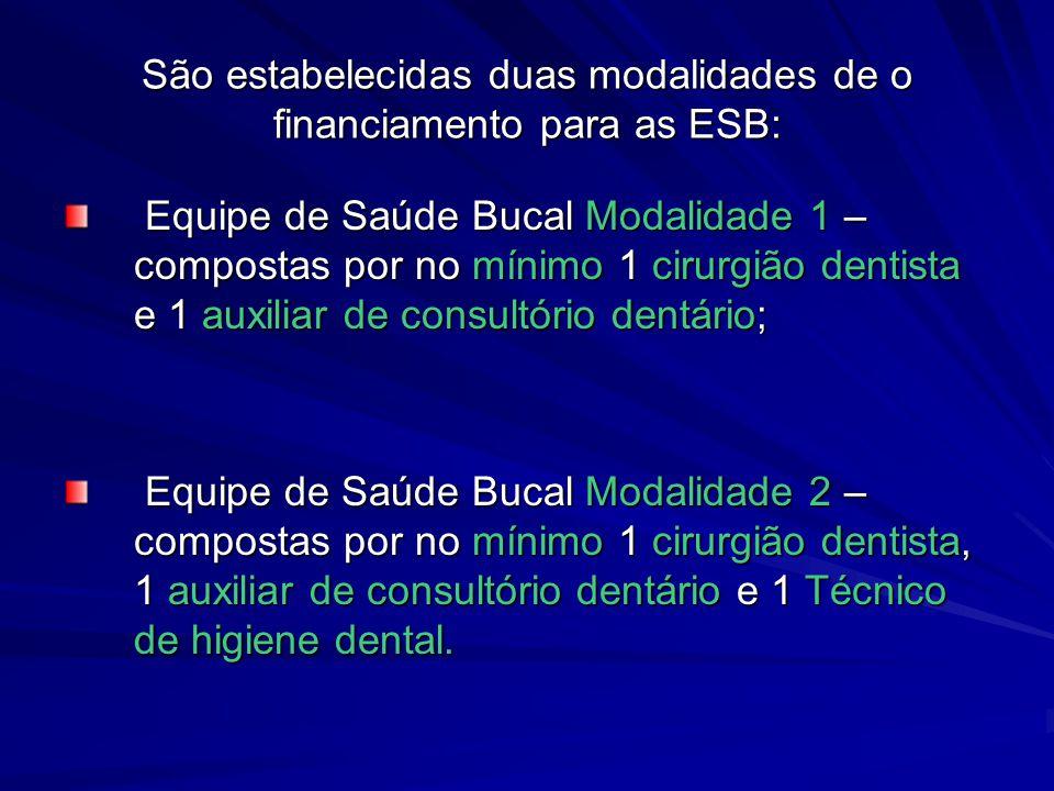 São estabelecidas duas modalidades de o financiamento para as ESB: Equipe de Saúde Bucal Modalidade 1 – compostas por no mínimo 1 cirurgião dentista e