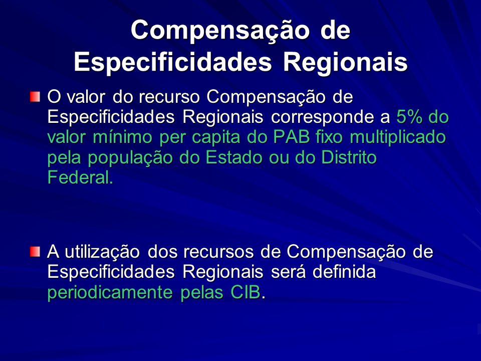 Compensação de Especificidades Regionais O valor do recurso Compensação de Especificidades Regionais corresponde a 5% do valor mínimo per capita do PA