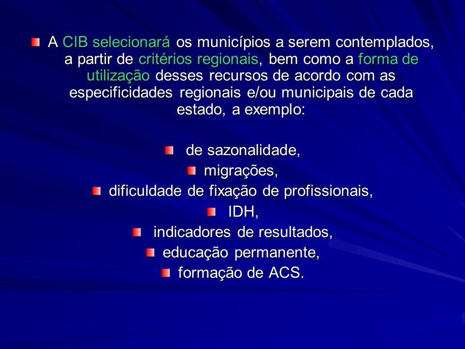 A CIB selecionará os municípios a serem contemplados, a partir de critérios regionais, bem como a forma de utilização desses recursos de acordo com as