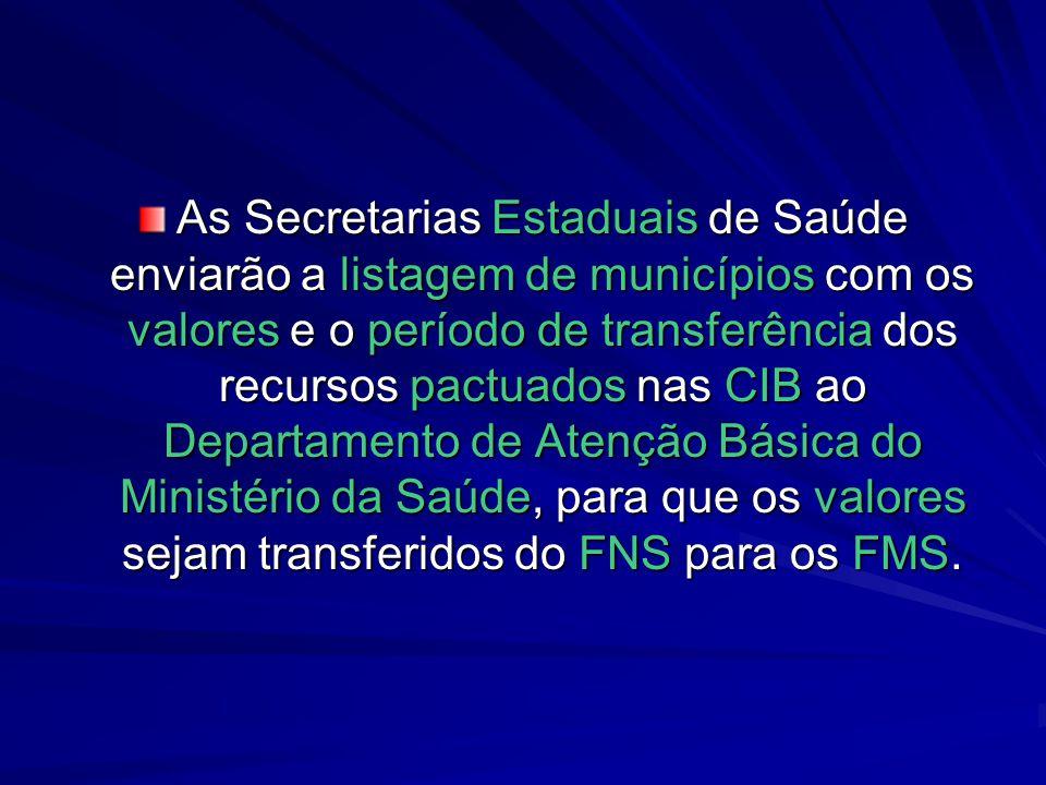 As Secretarias Estaduais de Saúde enviarão a listagem de municípios com os valores e o período de transferência dos recursos pactuados nas CIB ao Depa