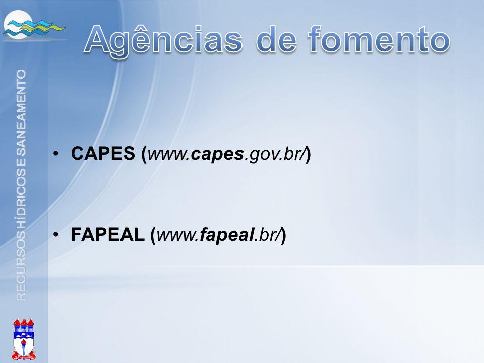 RECURSOS HÍDRICOS E SANEAMENTO •CAPES (www.capes.gov.br/) •FAPEAL (www.fapeal.br/)