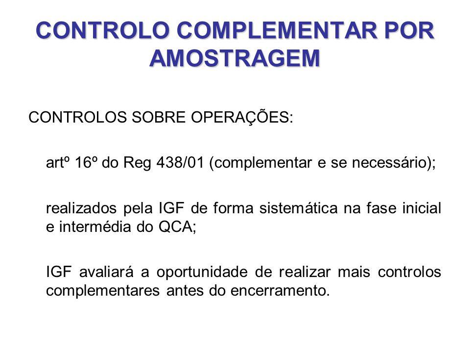 CONTROLO COMPLEMENTAR POR AMOSTRAGEM CONTROLOS SOBRE OPERAÇÕES: artº 16º do Reg 438/01 (complementar e se necessário); realizados pela IGF de forma si