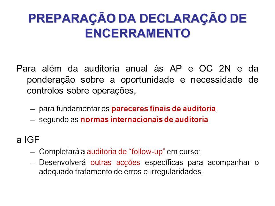 PREPARAÇÃO DA DECLARAÇÃO DE ENCERRAMENTO Para além da auditoria anual às AP e OC 2N e da ponderação sobre a oportunidade e necessidade de controlos so