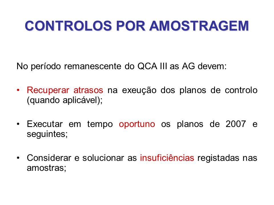 CONTROLOS POR AMOSTRAGEM No período remanescente do QCA III as AG devem: •Recuperar atrasos na exeução dos planos de controlo (quando aplicável); •Executar em tempo oportuno os planos de 2007 e seguintes; •Considerar e solucionar as insuficiências registadas nas amostras;
