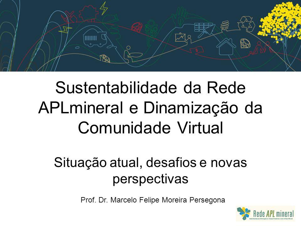 Sustentabilidade da Rede APLmineral e Dinamização da Comunidade Virtual Situação atual, desafios e novas perspectivas Prof.