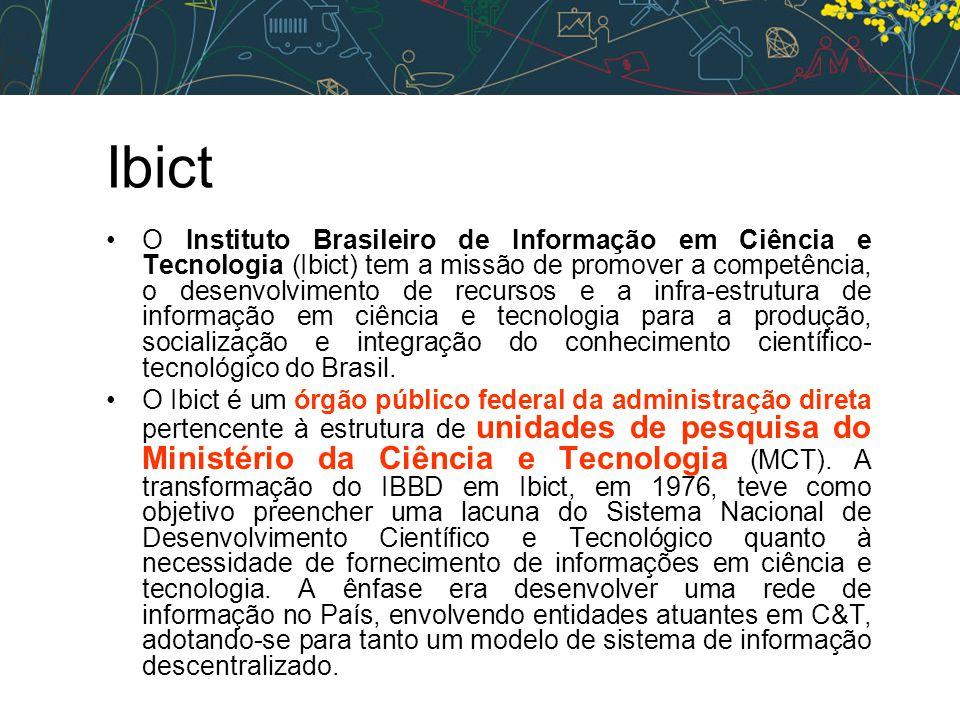 Ibict •O Instituto Brasileiro de Informação em Ciência e Tecnologia (Ibict) tem a missão de promover a competência, o desenvolvimento de recursos e a infra-estrutura de informação em ciência e tecnologia para a produção, socialização e integração do conhecimento científico- tecnológico do Brasil.