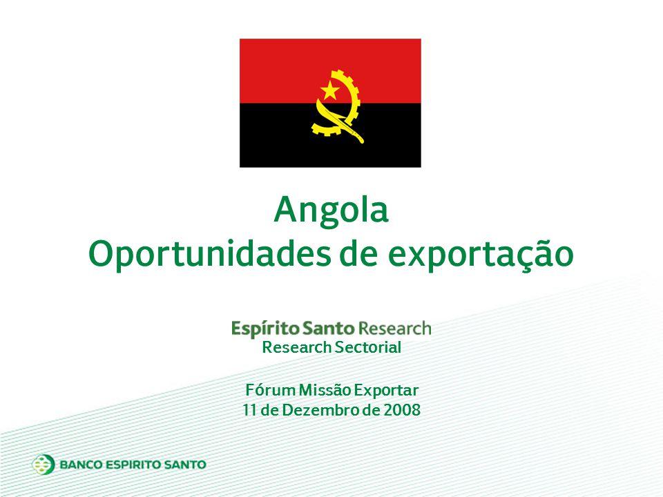 Fórum Missão Exportar 11 de Dezembro de 2008 Angola Oportunidades de exportação Research Sectorial