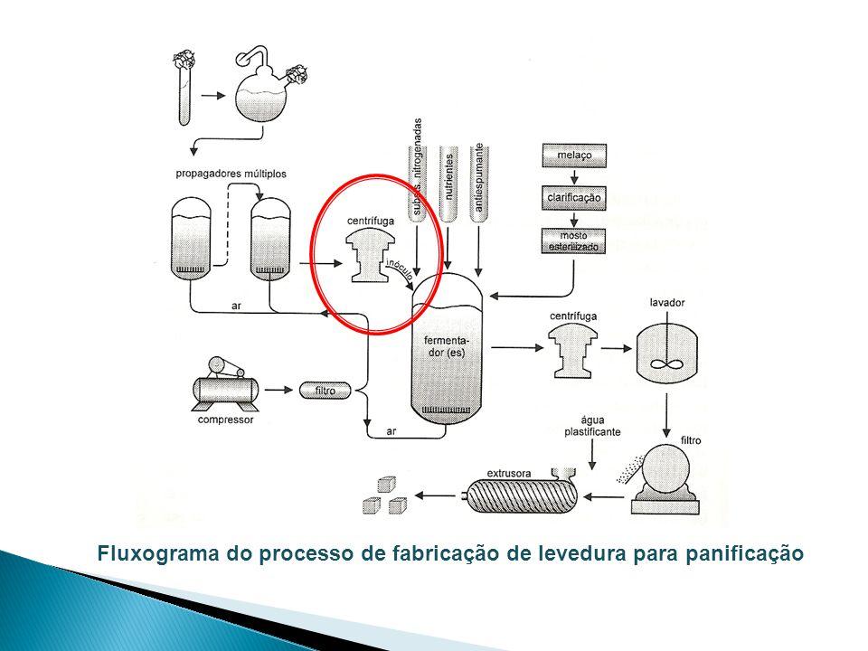 Fluxograma do processo de fabricação de levedura para panificação