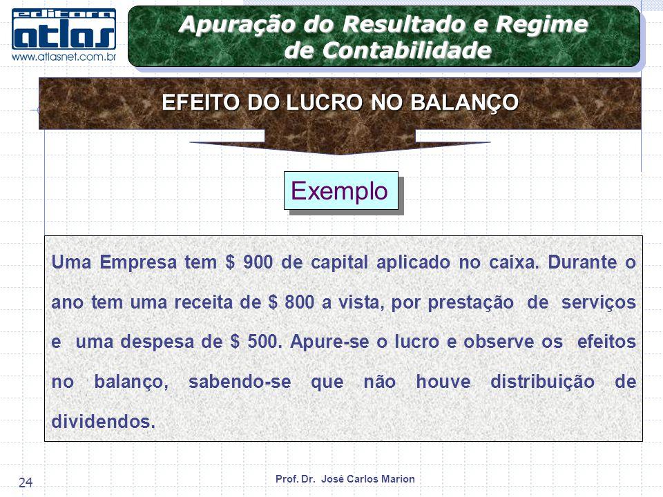 Prof.Dr. José Carlos Marion 24 Exemplo Uma Empresa tem $ 900 de capital aplicado no caixa.