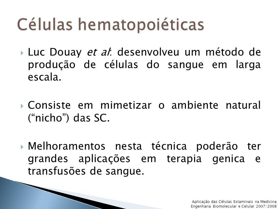 """ Luc Douay et al: desenvolveu um método de produção de células do sangue em larga escala.  Consiste em mimetizar o ambiente natural (""""nicho"""") das SC"""