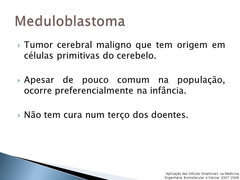  Tumor cerebral maligno que tem origem em células primitivas do cerebelo.  Apesar de pouco comum na população, ocorre preferencialmente na infância.