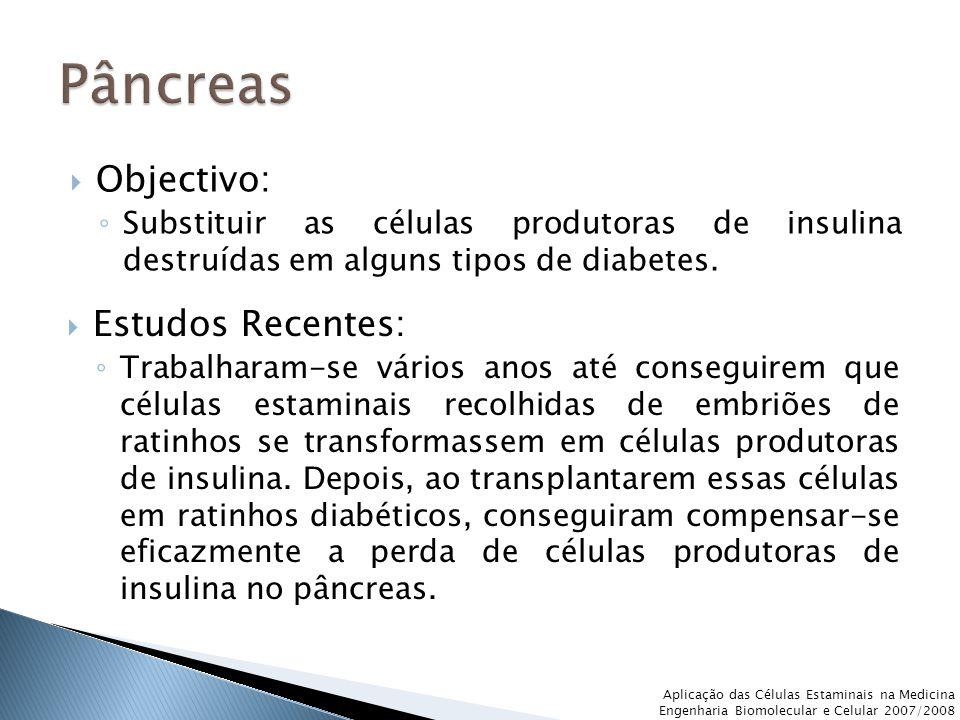 Aplicação das Células Estaminais na Medicina Engenharia Biomolecular e Celular 2007/2008  Objectivo: ◦ Substituir as células produtoras de insulina destruídas em alguns tipos de diabetes.