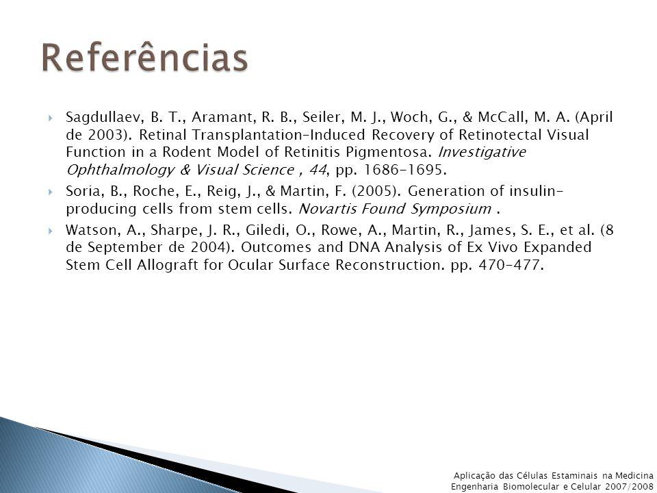  Sagdullaev, B. T., Aramant, R. B., Seiler, M. J., Woch, G., & McCall, M. A. (April de 2003). Retinal Transplantation–Induced Recovery of Retinotecta