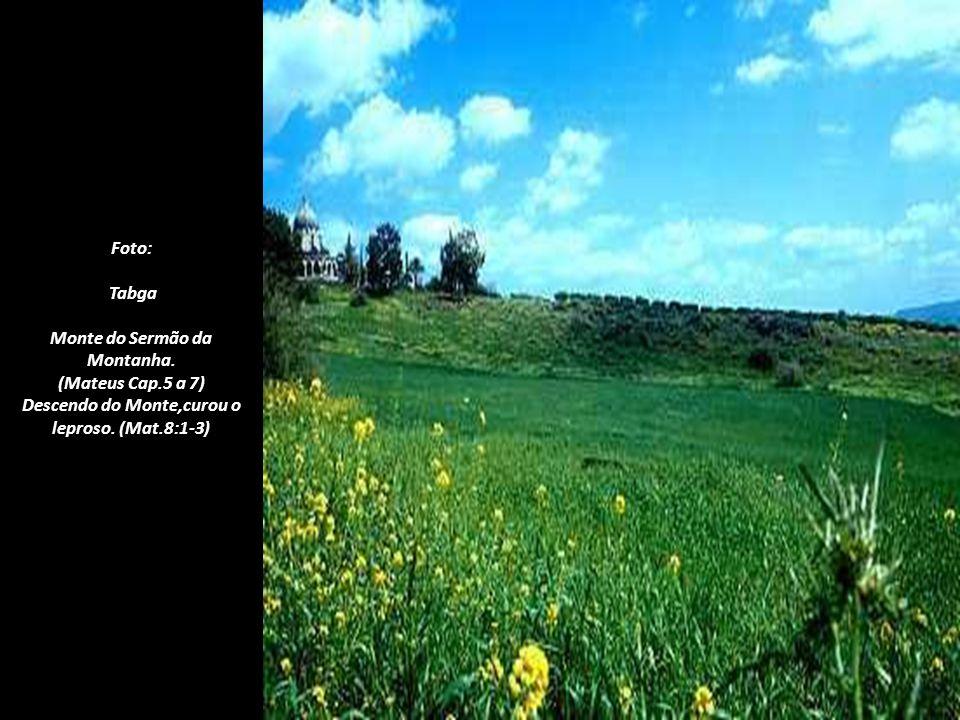 Foto: Tabga - Monte das Beatitudes. Entre Tabga e Cafarnaum, Jesus pronunciou o Sermão da Montanha. Reuniu aqui, os discípulos e as multidões que dese