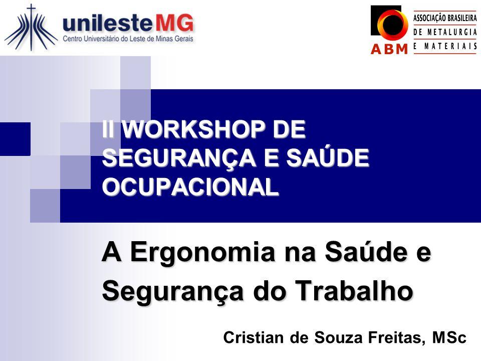 II WORKSHOP DE SEGURANÇA E SAÚDE OCUPACIONAL A Ergonomia na Saúde e Segurança do Trabalho Cristian de Souza Freitas, MSc