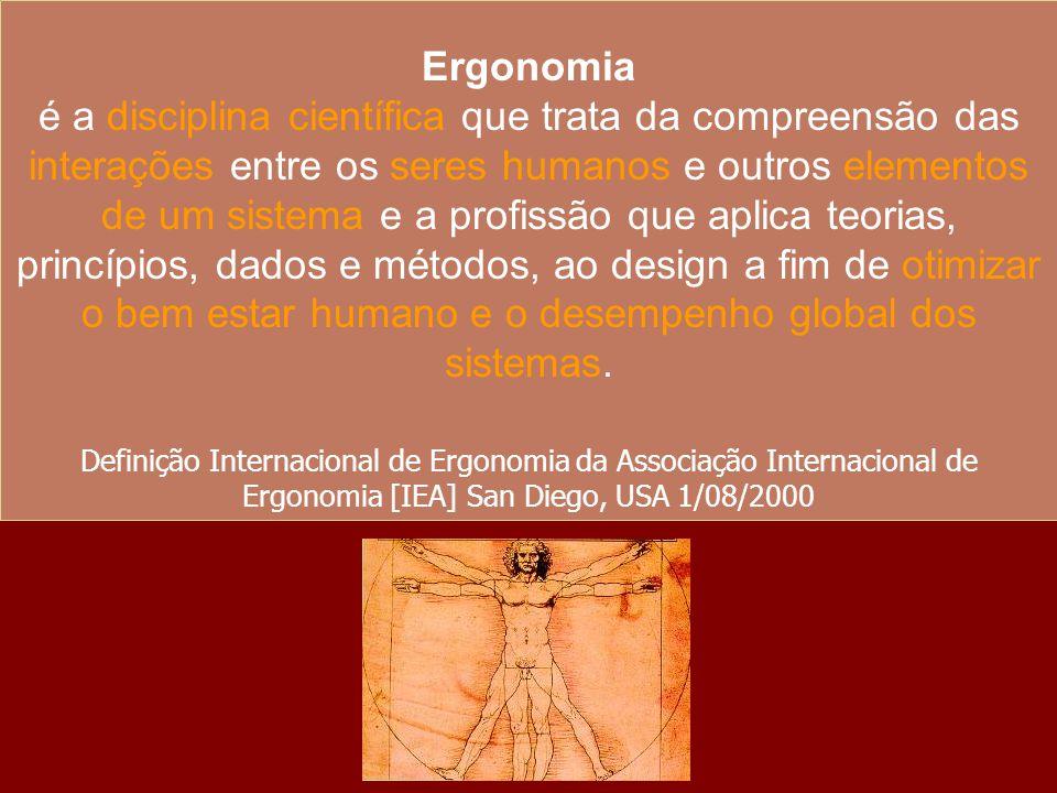 Ergonomia é a disciplina científica que trata da compreensão das interações entre os seres humanos e outros elementos de um sistema e a profissão que
