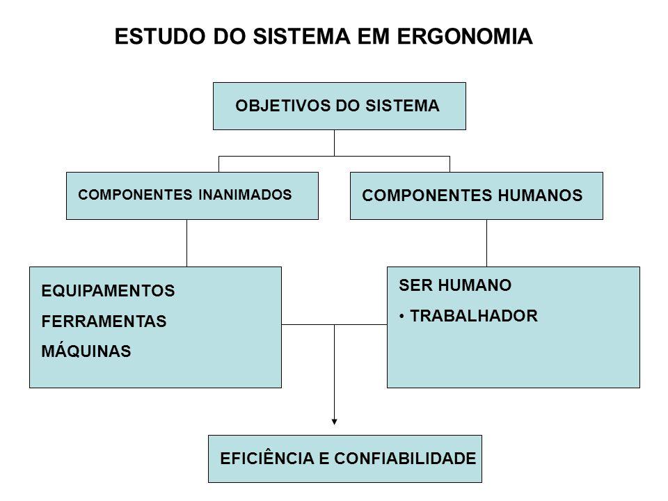 OBJETIVOS DO SISTEMA COMPONENTES INANIMADOS COMPONENTES HUMANOS EQUIPAMENTOS FERRAMENTAS MÁQUINAS SER HUMANO • TRABALHADOR EFICIÊNCIA E CONFIABILIDADE