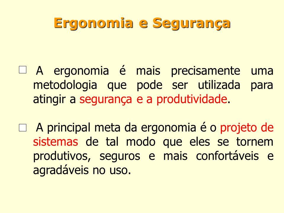 Ergonomia e Segurança A ergonomia é mais precisamente uma metodologia que pode ser utilizada para atingir a segurança e a produtividade. A principal m