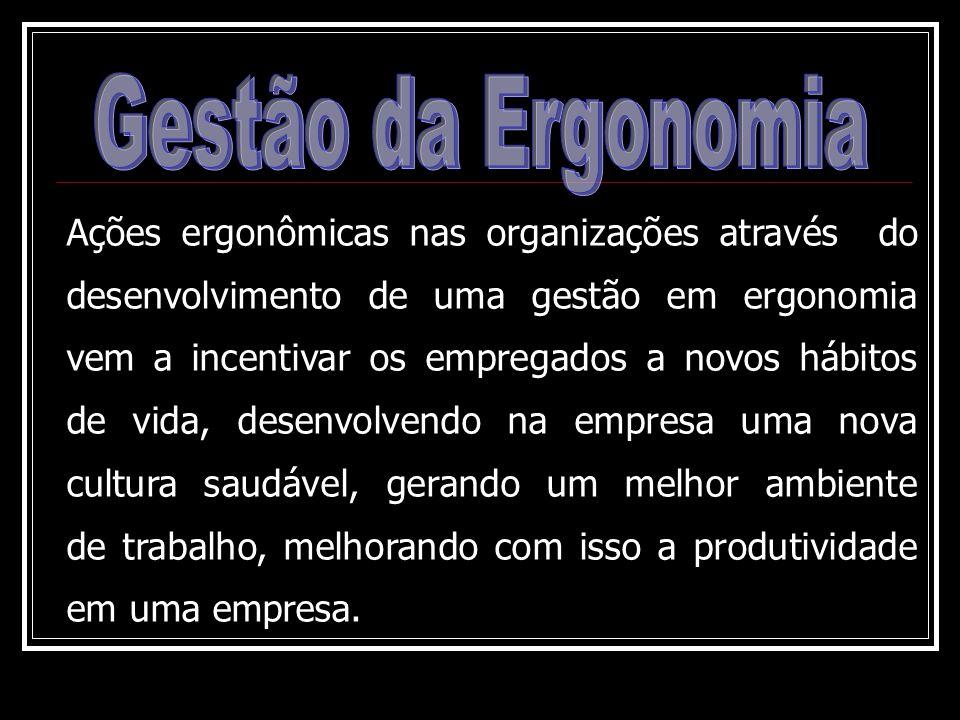 Ações ergonômicas nas organizações através do desenvolvimento de uma gestão em ergonomia vem a incentivar os empregados a novos hábitos de vida, desen