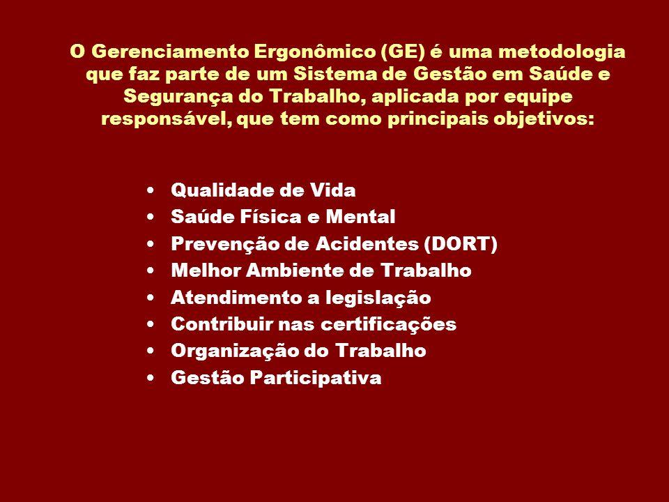 O Gerenciamento Ergonômico (GE) é uma metodologia que faz parte de um Sistema de Gestão em Saúde e Segurança do Trabalho, aplicada por equipe responsá