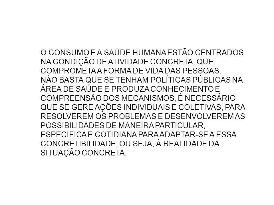 O CONSUMO E A SAÚDE HUMANA ESTÃO CENTRADOS NA CONDIÇÃO DE ATIVIDADE CONCRETA, QUE COMPROMETA A FORMA DE VIDA DAS PESSOAS. NÃO BASTA QUE SE TENHAM POLÍ