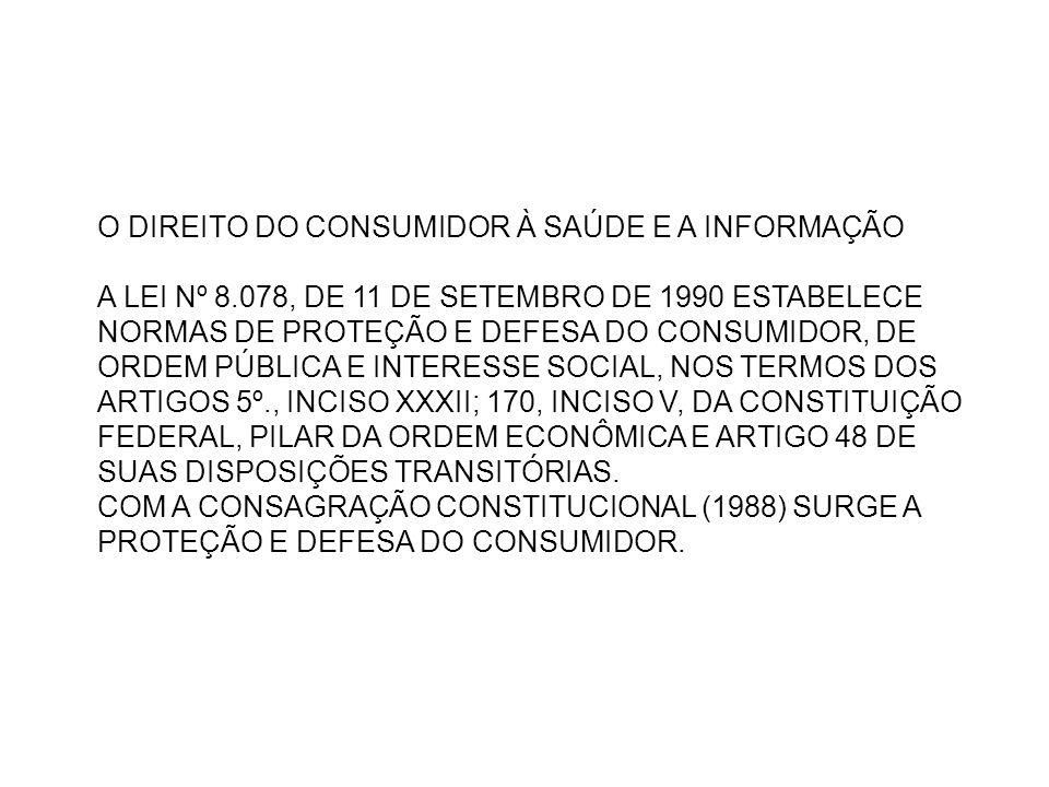 O DIREITO DO CONSUMIDOR À SAÚDE E A INFORMAÇÃO A LEI Nº 8.078, DE 11 DE SETEMBRO DE 1990 ESTABELECE NORMAS DE PROTEÇÃO E DEFESA DO CONSUMIDOR, DE ORDE