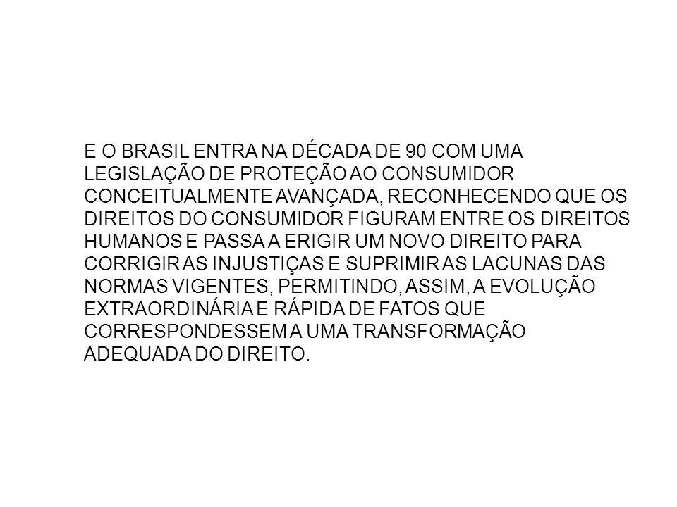 E O BRASIL ENTRA NA DÉCADA DE 90 COM UMA LEGISLAÇÃO DE PROTEÇÃO AO CONSUMIDOR CONCEITUALMENTE AVANÇADA, RECONHECENDO QUE OS DIREITOS DO CONSUMIDOR FIG