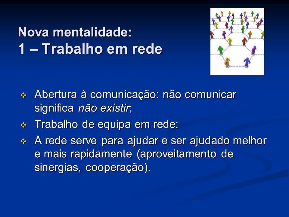 Nova mentalidade: 1 – Trabalho em rede AAAAbertura à comunicação: não comunicar significa não existir; TTTTrabalho de equipa em rede; AAAA rede serve para ajudar e ser ajudado melhor e mais rapidamente (aproveitamento de sinergias, cooperação).