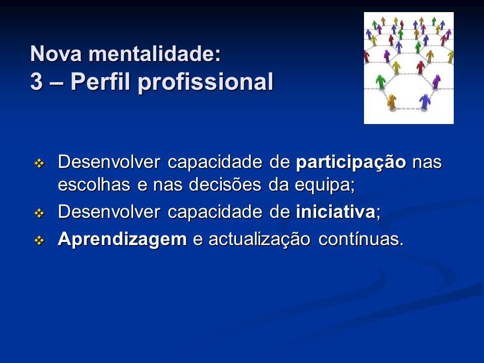 Nova mentalidade: 3 – Perfil profissional  Desenvolver capacidade de participação nas escolhas e nas decisões da equipa;  Desenvolver capacidade de iniciativa;  Aprendizagem e actualização contínuas.