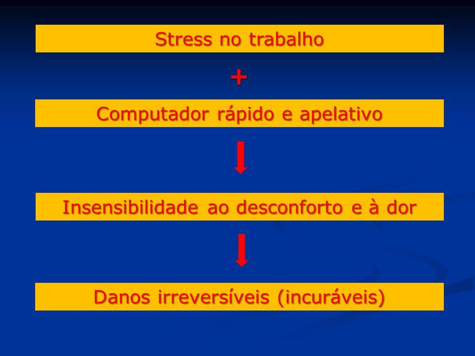 Stress no trabalho + Computador rápido e apelativo Insensibilidade ao desconforto e à dor Danos irreversíveis (incuráveis)