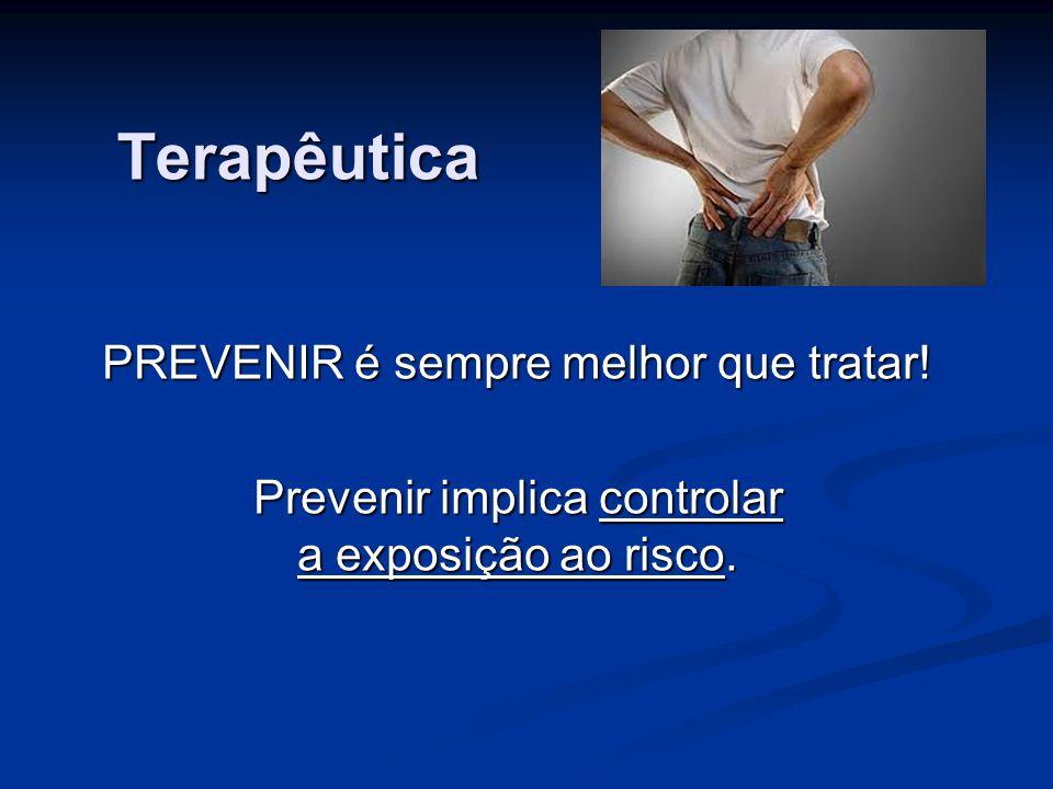 Terapêutica PREVENIR é sempre melhor que tratar! Prevenir implica controlar a exposição ao risco.