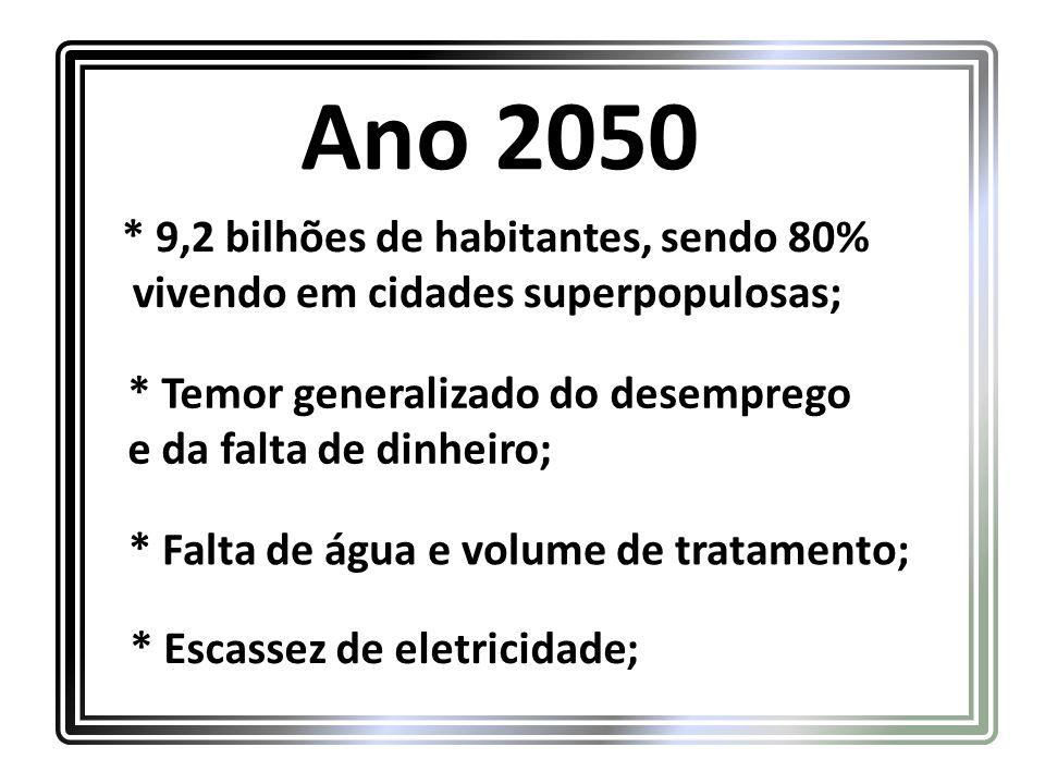 Ano 2050 * 9,2 bilhões de habitantes, sendo 80% vivendo em cidades superpopulosas; * Falta de água e volume de tratamento; * Escassez de eletricidade; * Temor generalizado do desemprego e da falta de dinheiro;