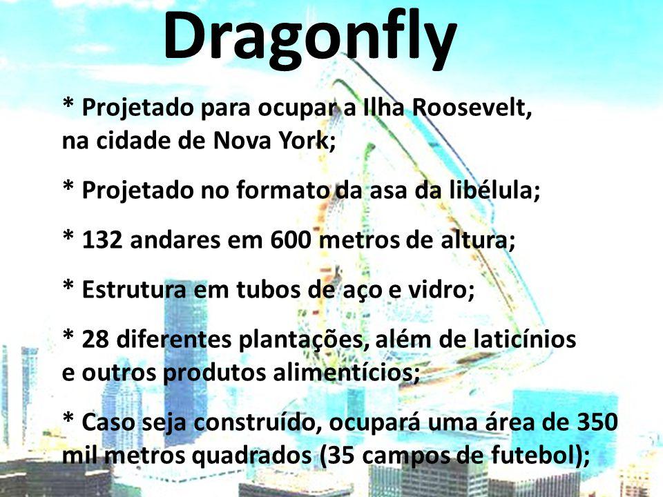 Dragonfly * Projetado para ocupar a Ilha Roosevelt, na cidade de Nova York; * Projetado no formato da asa da libélula; * 132 andares em 600 metros de altura; * Estrutura em tubos de aço e vidro; * 28 diferentes plantações, além de laticínios e outros produtos alimentícios; * Caso seja construído, ocupará uma área de 350 mil metros quadrados (35 campos de futebol);