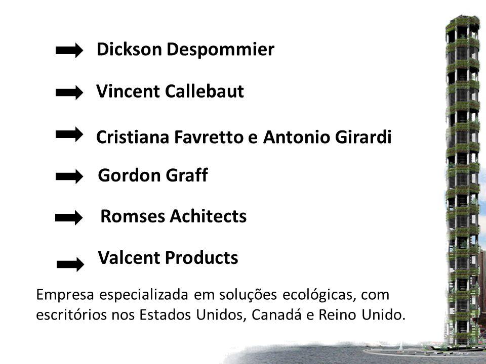 Dickson Despommier Vincent Callebaut Cristiana Favretto e Antonio Girardi Gordon Graff Romses Achitects Valcent Products Empresa especializada em soluções ecológicas, com escritórios nos Estados Unidos, Canadá e Reino Unido.