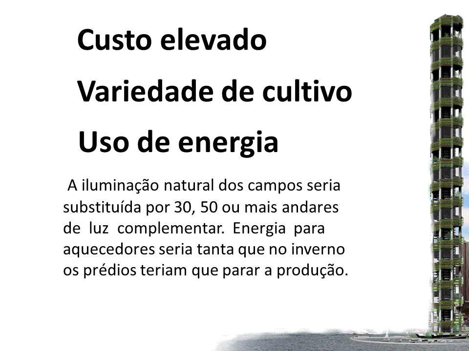 Uso de energia A iluminação natural dos campos seria substituída por 30, 50 ou mais andares de luz complementar.