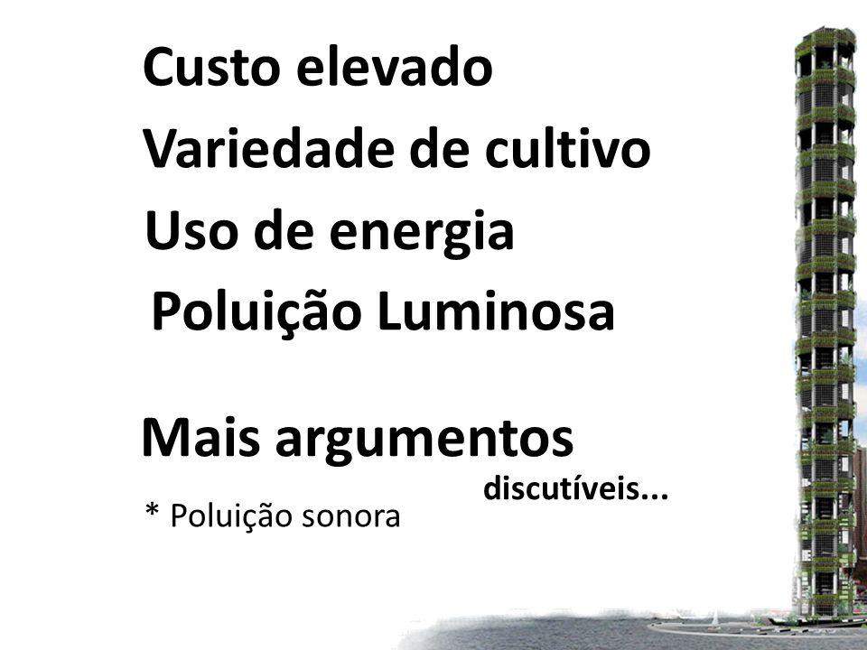 Poluição Luminosa Custo elevado Variedade de cultivo Uso de energia Mais argumentos discutíveis...