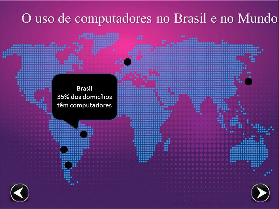 O uso de computadores no Brasil e no Mundo Japão 86% dos domicílios têm computadores
