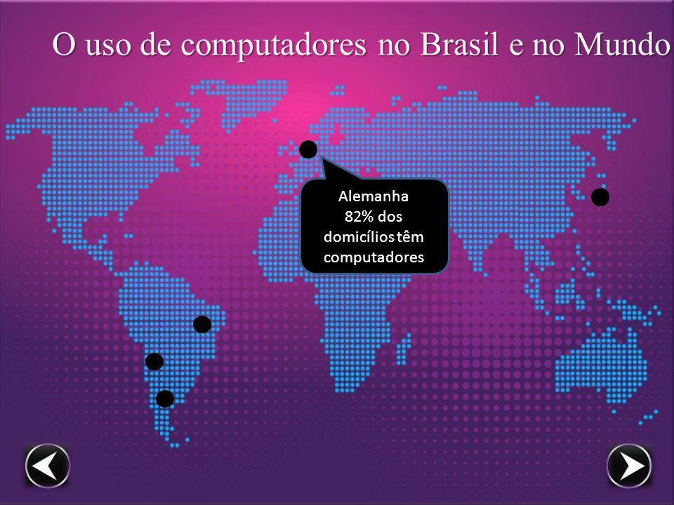 O uso de computadores no Brasil e no Mundo Alemanha 82% dos domicílios têm computadores